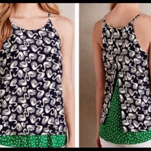 Anthropologie swan and polka dot tank top